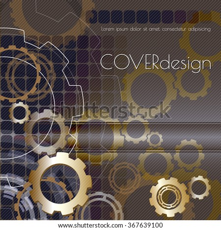 Vector square brochure cover design with black and white  cogwheels. - stock vector
