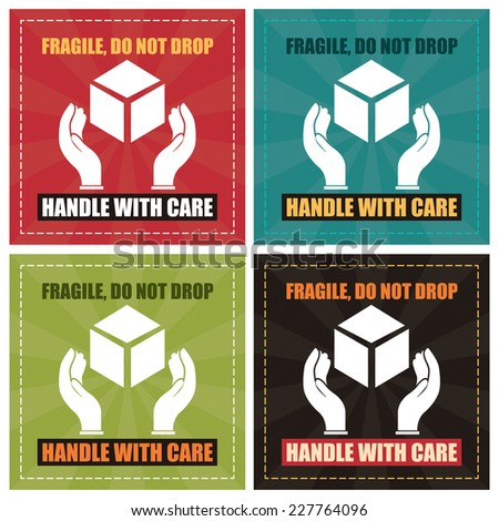 Vector square fragile do not drop handle with care poster label or sticker