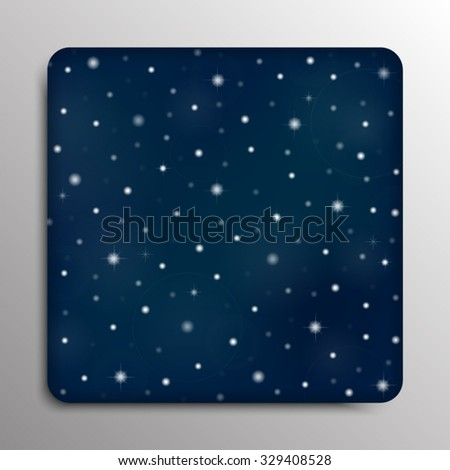 Vector square frame background. Starry night sky. Stars, sky, night.