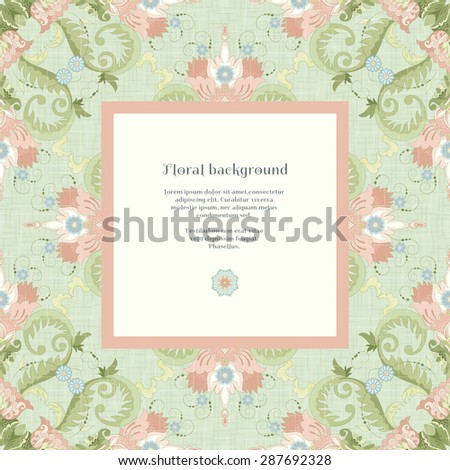 Vector square frame. Beautiful seamless floral pattern in vintage style. Imitation canvas texture. Realistic shadows and place for your text.