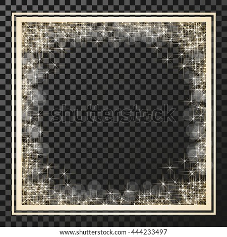 Vector square frame with golden stars on the transparency background, sparkles golden symbols  - star glitter, stellar flare, shining reflections.