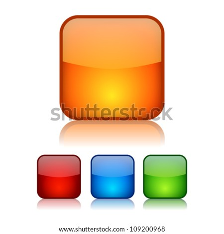 Vector square glassy buttons, eps10 illustration - stock vector