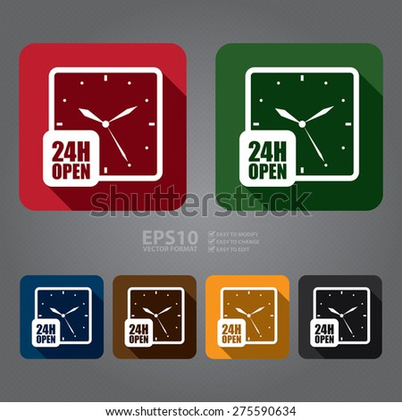 Vector : Square 24H Open Clock, Watch Long Shadow Style Icon, Label, Sticker, Sign or Banner  - stock vector