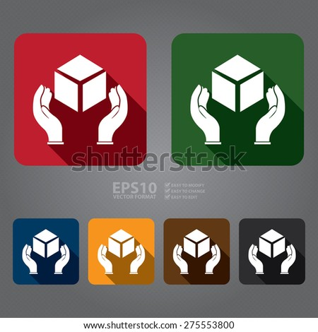 Vector : Square Handle With Care, Do Not Drop, Hand With Box Flat Long Shadow Style Icon, Label, Sticker, Sign or Banner  - stock vector