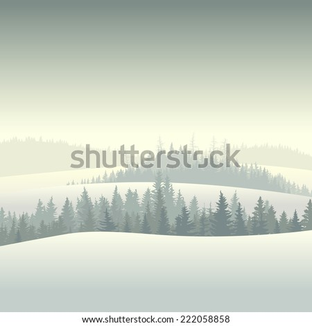 Vector square illustration of snowy morning coniferous forest valley. - stock vector