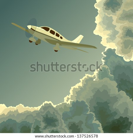 Vector square illustration: small single-engine private plane among clouds at dusk (twilight). - stock vector