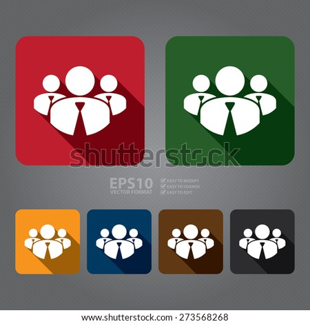 Vector : Square Member, Group of Businessman Long Shadow Style Icon, Label, Sticker, Sign or Banner - stock vector