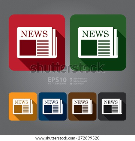 Vector : Square News, Newspaper Long Shadow Style Icon, Label, Sticker, Sign or Banner - stock vector