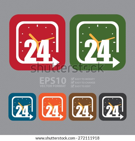 Vector : Square Open 24 Hours Label, Sign or Icon - stock vector