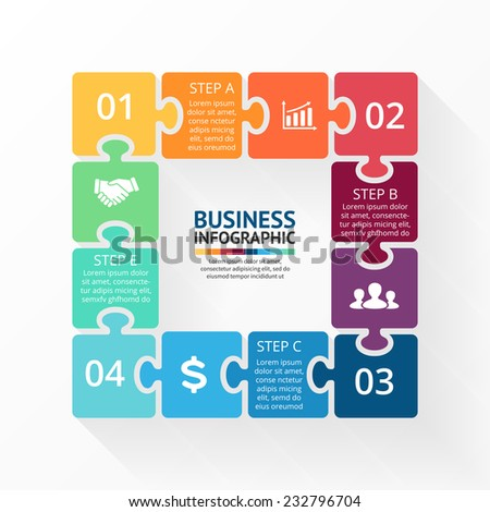 Vector square puzzle infographic. Template for diagram, graph, presentation and chart. Business concept with 4 cyclic options, parts, steps or processes. Abstract background. - stock vector