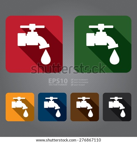 Vector : Square Running Water, Tap Water Flat Long Shadow Style Icon, Label, Sticker, Sign or Banner