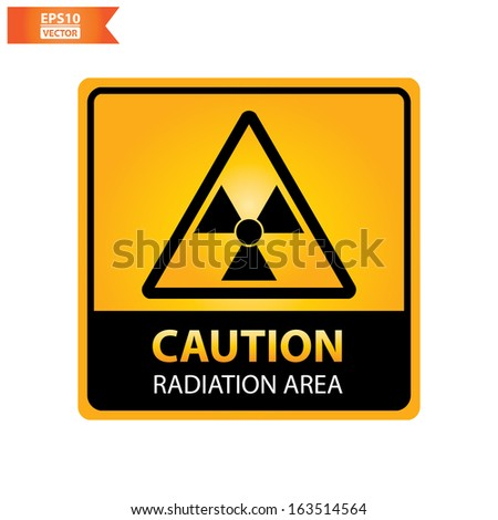 Vector : square yellow and black caution with  radiation area  text and sign isolated on white background. Eps10.