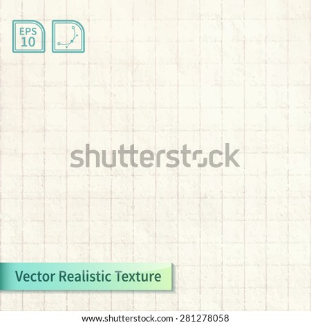 Vector squared old paper list from notebook. Vintage background for your design - stock vector
