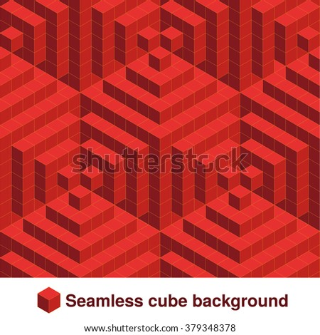 Vector squared pattern. Seamless geometric texture in red color. Effect stylish tiles. 3d abstract dynamic background created of cubes.  - stock vector