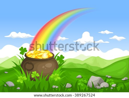 Vector St. Patrick's day Irish landscape with leprechaun's pot of gold and rainbow.