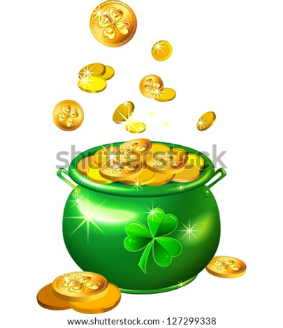 vector St. Patrick`s Day shiny green pot filled with leprechaun gold coins isolated on the white background - stock vector
