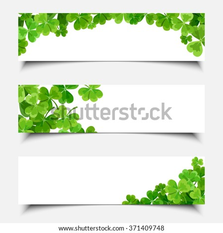 Vector St. Patrick's day white web banners with shamrock leaves.
