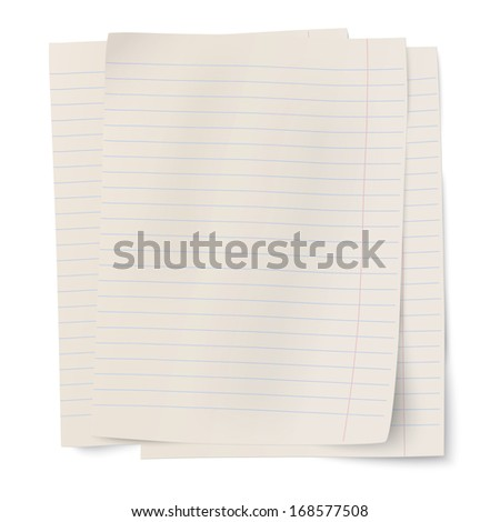 Vector stack of notebook paper sheets isolated on white background - stock vector