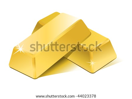 Vector stacked bars of gold bullion - stock vector