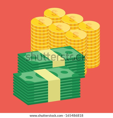 Vector Stacks of Dollars and Golden Coins Icon - stock vector