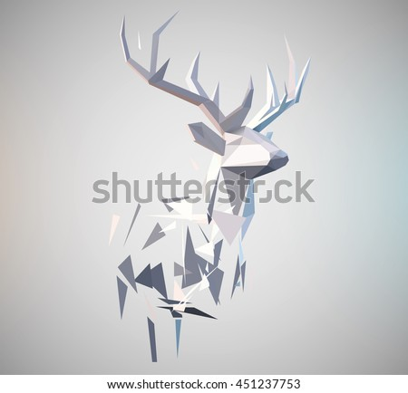 Vector stag illustration. 3d paper fold design effect. Low poly effect . Deer formed by triangle shapes. Abstract design element.