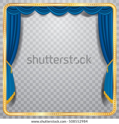 vector stage with blue curtain, golden frame and transparent shadow, blank background, layered and fully editable
