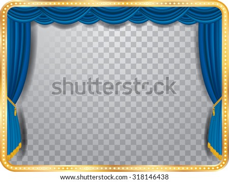 vector stage with blue curtain, golden frame, bulb lamps and transparent shadow - stock vector
