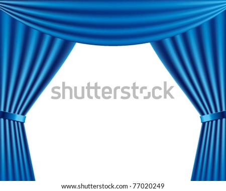 Vector stage with blue curtains