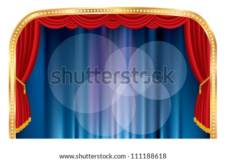 vector stage with five spotlights - stock vector