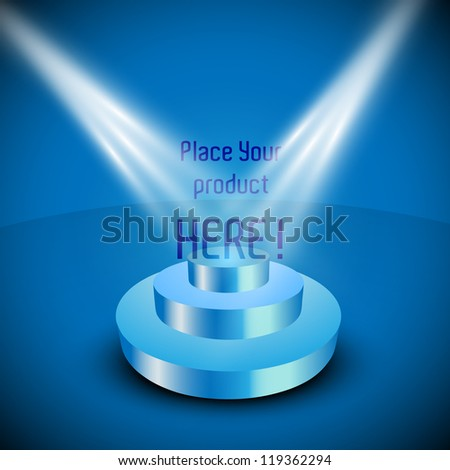 Vector stage with lights - stock vector