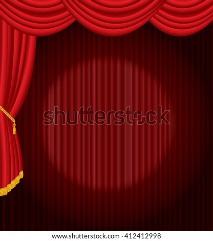 vector stage with one circle spot light on red curtain - stock vector