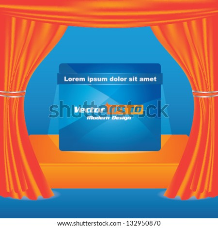 Vector stage with orange show curtain and advertising panel with place for text - stock vector