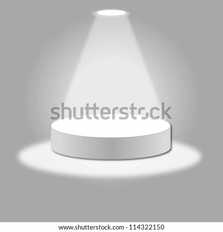 vector stage with podium and light - stock vector