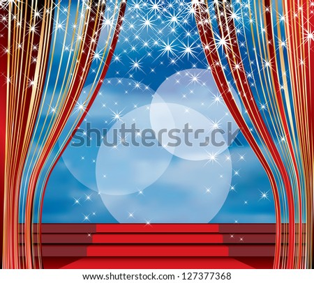 vector stage with red carpet on stairs and cloudy sky in background - stock vector