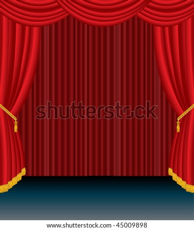 vector stage with red curtain - stock vector