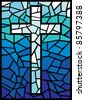 vector stained glass cross (cross in stained glass style) - stock photo