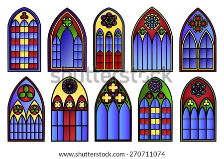 Vector stained glass windows set. Decoration frame, decorative exterior, art silhouette - stock vector
