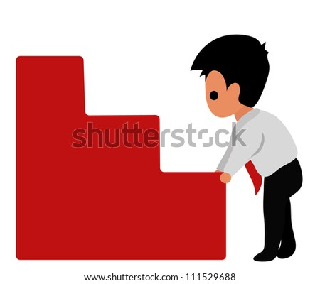 Vector - Stair of success.Businessman checking before go up stair of success. - stock vector