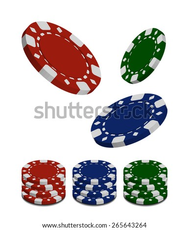 Vector Stake Chip Set Isolated on White Background - stock vector