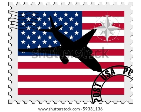 vector stamp with the flag of USA