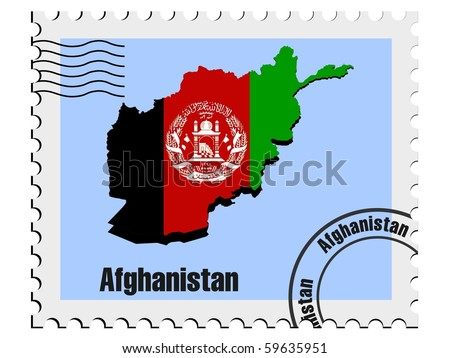 vector stamp with the image maps of Afghanistan - stock vector