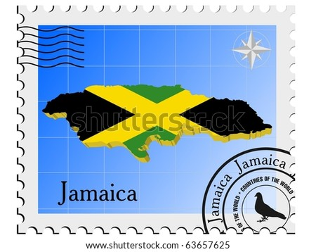 vector stamp with the image maps of Jamaica