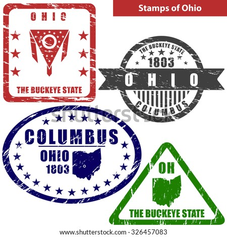 Vector Stamps Of Ohio State In United States With Map And Nickname The Buckeye State