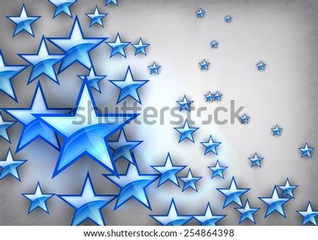 Vector star design. Blue shining stars on the gray background. - stock vector