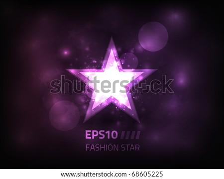 Vector star design on a dark purple background - stock vector