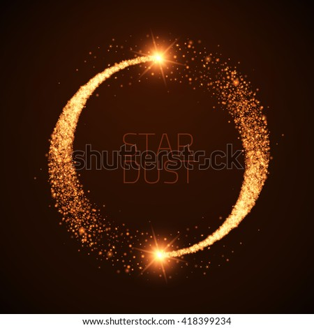 Vector star dust circle. Magic glittering illustration. Bright sparks and stars on dark background - stock vector
