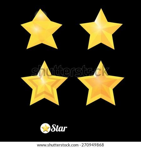 vector star icon set collection - stock vector