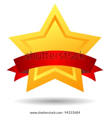 Vector star illustration with red ribbon - stock vector