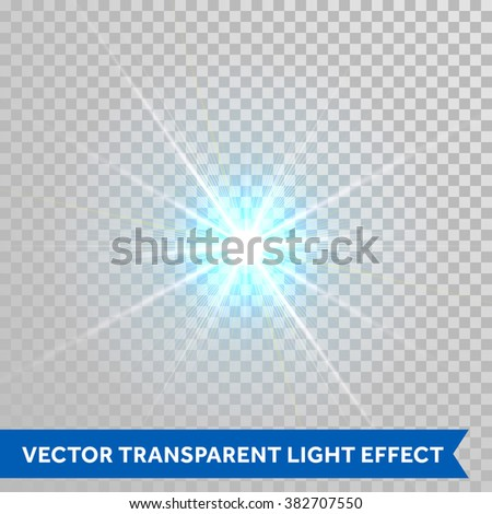 Vector star light radiance. Sparkling particle with glaring lens flare beams. Bright light flash isolated on transparent background - stock vector