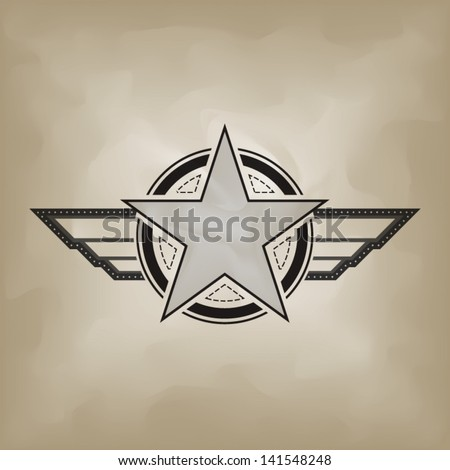 vector star military symbol on retro background  - stock vector